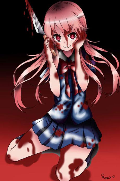 Yuno Gasai du manga et animé Mirai Nikki. Elle possède la caractéristique du Yandere prête à tout pour être avec Yukiteru. Fan art réalisé par  Kuro-Neko08. Source:https://kuro-neko08.deviantart.com/art/Gasai-Yuno-Mirai-Nikki-336709227