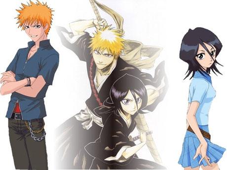Ichigo et Rukia de Bleach qui sont des Shinigamis. Source: http://www.fanpop.com/clubs/bleach-ichigo-and-rukia/images/20891657/title/ichigo-x-rukia-wallpaper
