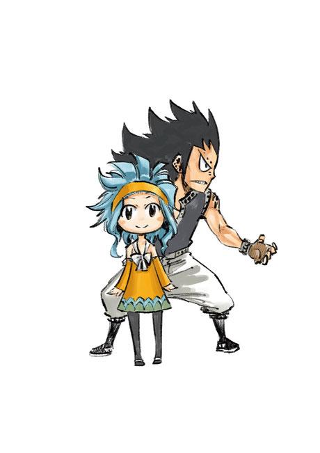 Gajeel et Levy de Fairy Tail. Tweet d'Hiro Mashima