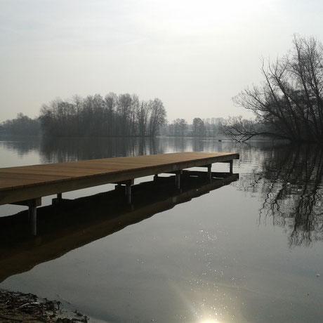 Der schöne Steg am See in Güster
