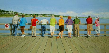 no diving, white rock, white rock pier, white rock beach, people, ocean, sign, blue, gloria, ainsworth, mout