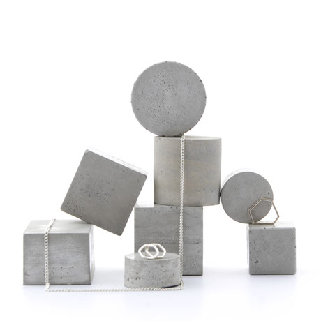 Monochrome Concrete Cylinder, Jewellery Prop Set of 3 by PASiNGA