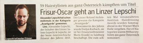 Bericht der Österreich-Zeitung (OÖ) vom 28.04.2015