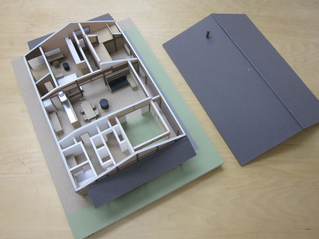模型の真ん中がLDK。LDKを挟んで、上(東側)が子世帯ゾーン。下(西側)が親世帯ゾーン。