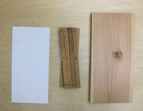 主な構成要素はこんな感じ。左から、モイス、山桜、杉板、加えて左官で中塗り仕上げ、古材。