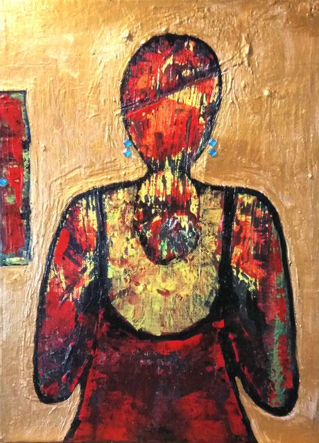 ikonenartig anmutendes Gemälde; eine Frau, die Weiblichkeit, Stolz und Rückgrat zeigt