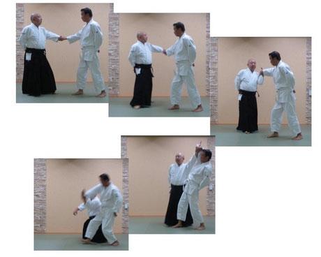 画像②:片手取り外転換外巡り・肘を落として回内で横面打ち入り身転換・地に結んで呼吸投げ