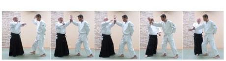 画像②横面打ちに外転換両手で氣の巡りによる手刀への結び