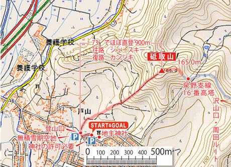 2016.1.29 登りシュースキーで下山はカンジキ