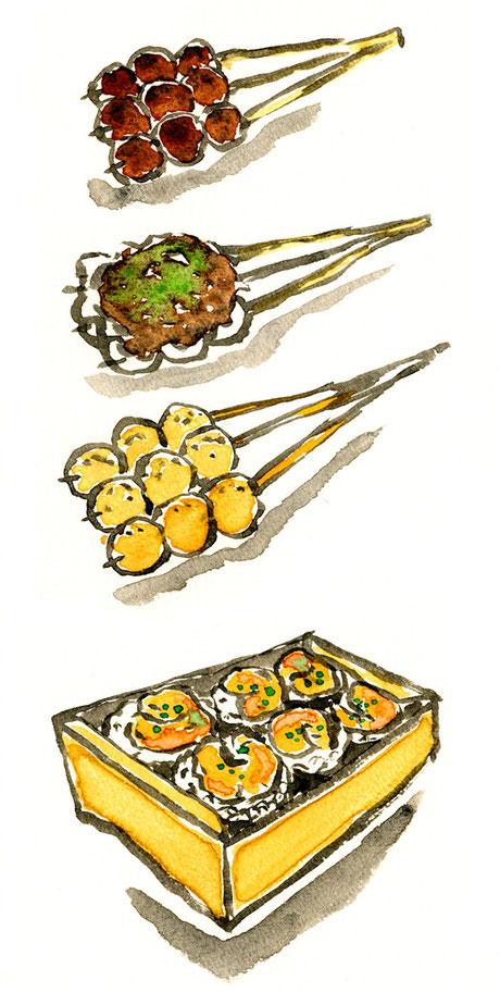 水彩イラスト 天むす 団子 飲食店