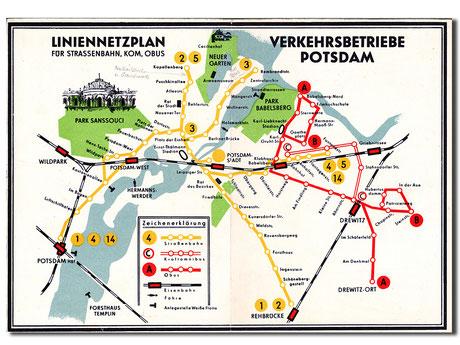 Netzplan Straßenbahn Potsdam 1964