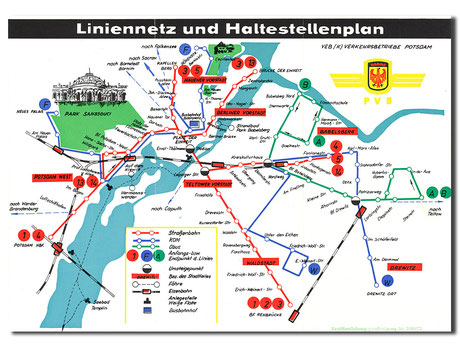 Netzplan Straßenbahn Potsdam 1972