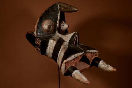 "Igbo-Izzy Mask ""ogbodo enyi"" with original colors black, white and orange"