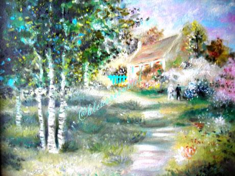 1994 Peinture à l'huile sur toile de coton 38/46 cm. d'après photo