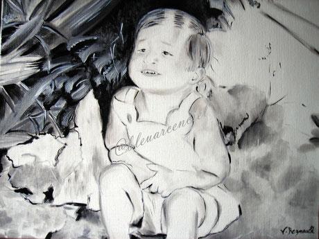 2008 Peinture à l'huile sur toile de lin 38/46 cm d'après photo