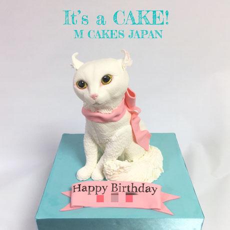 真っ白で耳がクリッとカールしている可愛い猫様「アメリカン・カール」型ケーキ🎂 目がぱっちりで可愛いけれども、こちらはケーキです🎀 頭もちゃんとケーキ! 中はポップカラーなケーキになっていますよ😊 #白猫 #アメリカンカール #猫型ケーキ #猫ケーキ #リアル風 #猫 #誕生日ケーキ #ポップケーキ #ケーキアート #ケーキオタク #3dケーキ #cat #whitecat #catcake #americancurl #animal #animalcake #torte #gateau #cake #🇯🇵