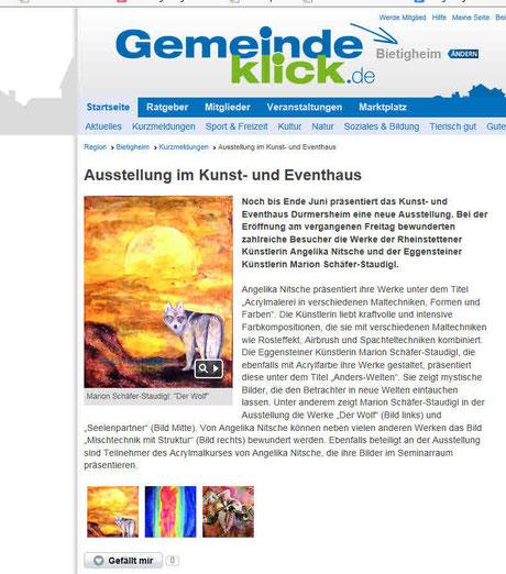 Marion Schäfer-Staudigl Durmersheim Bietigheim Ausstellung spirituelle Bilder