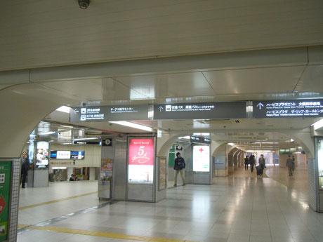 ④やや西に進み、北新地駅、西梅田駅方面へと再び南に進みます。
