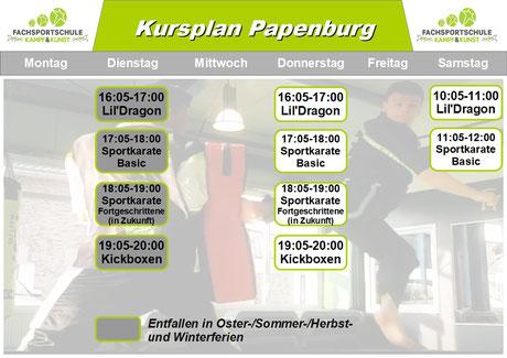Kursplan Kampfsport in Papenburg - Aktuell seit Beginn 2019