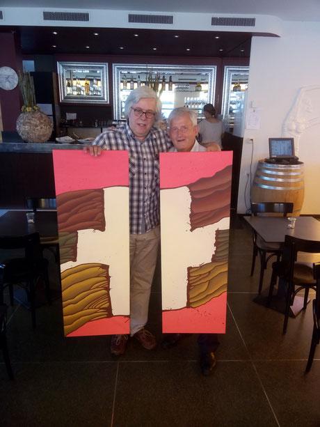 Nationalrat Andreas Gross und Ständerat Hans Stöckli im Restaurant Bellavista, Bern
