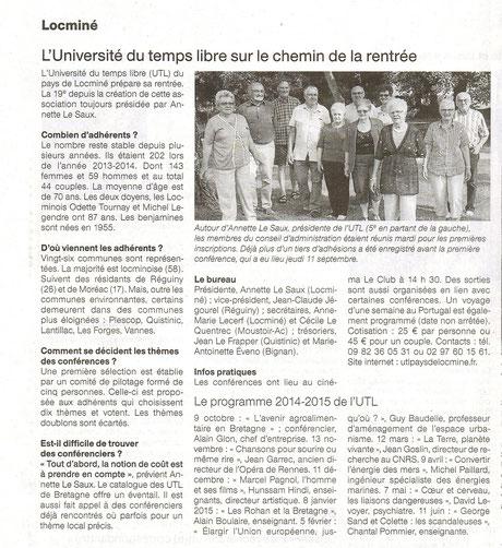 Ouest-France du 13 septembres 2014