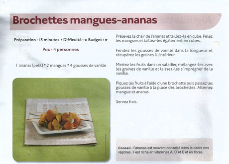 Brochettes mangues-ananas