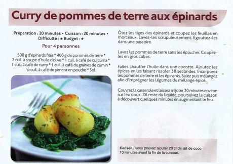 Curry de pommes de terre aux épinard