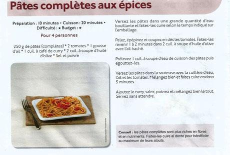 Pâtes complètes aux épices