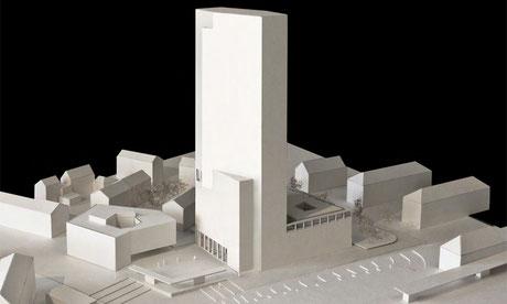 Modellbild Hochhaus Bärenareal (Burkard Meyer Architekten BSA)