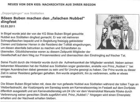 """2011 - Bericht in der DN-Woche über den """"verwahrlosten Nubbel"""""""