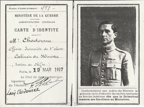 Louis Chadourne Officier interprète du Cabinet du Ministère 1917