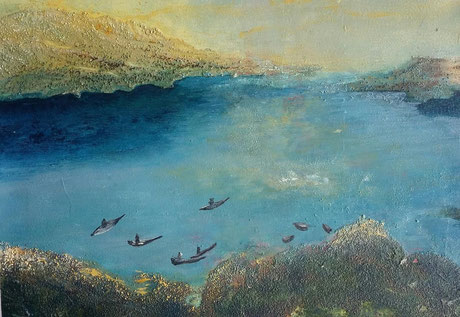 """Nr. 58 / IRENE FRÜHWIRTH-SOLNITZKY / """"Sunrise II"""", Mixed media auf Leinwand/MDF-Platte, 30x40cm, (Teil eines Triptychons), 430,-€ (für das Triptychon; siehe nachstehende Abbildung)"""