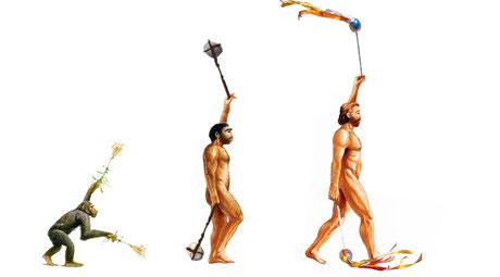 Bild: Evolution der Poi oder Bolas: über Naturmaterialien zum Pack-Poi