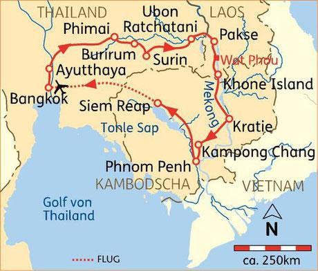 18 Tage Kombireise Thailand, Laos & Kambodscha (Angkor Wat) inkl. Linienflug ab 2.599,- €