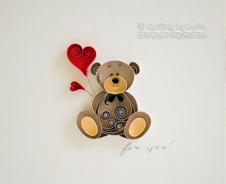 quilling , quilling paper, paper art, art, love, bear, love bear, love, for her, etsy, larissa zasadna, design, love heart, hearts, quilling art, quilling paper art