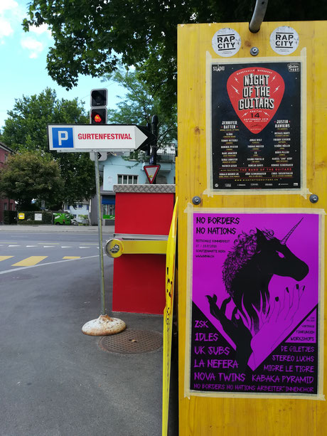 Gurten Festival Event Promotion Plakatier Bern Plakataushang Bern Yeahmans guitar wartezeit no borders no nations night of the guitars