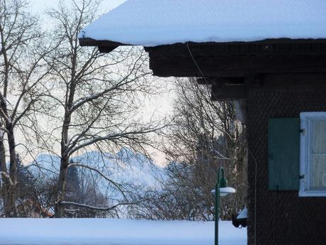 Ferienwohnung im Allgäu, Rosenhof in Görisried, Rosenhof im Winter mit Bäumen und Bergen