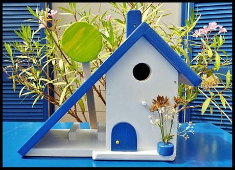 Houten Nestkastje, Nestkastje woudgroen met Pindakaas pot, Vogelhuisje bouwen, vogelhuisje voor pindakaas pot