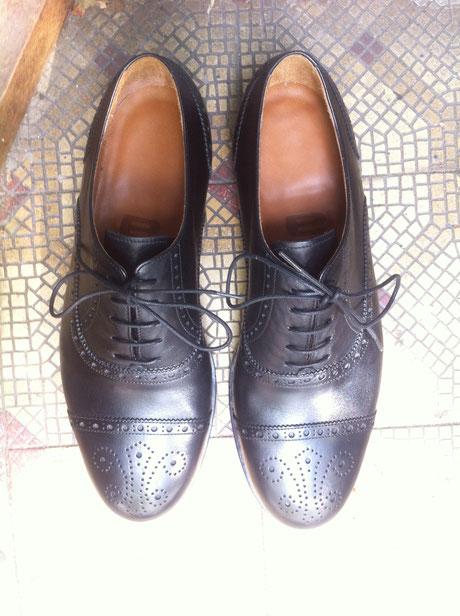 Maßschuhe Hamburg, Anja Burisch, Full-Brogue Oxford, handmade shoes, rahmengenähte Herrenschuhe
