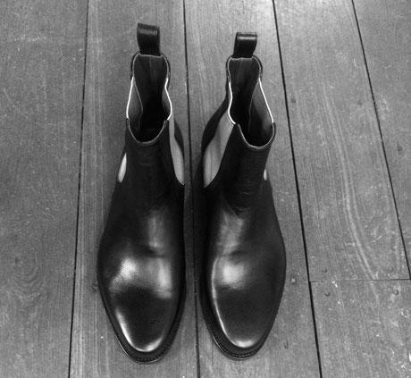 Anja Burisch Maßschuhe Hamburg, Chelsea boots, silber/schwarz, handmade