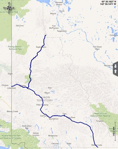 unsere gefahrene Route im Yukon