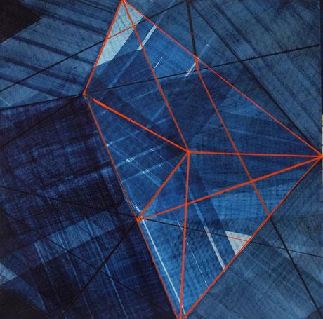 Geometrische räumliche Struktur mit Pinsel