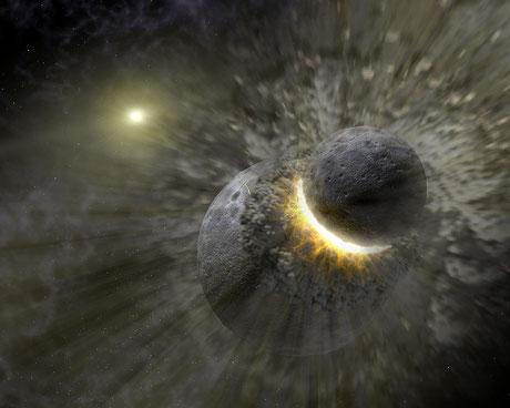 Die Enstehung von Pluto, Charon, Hydra und Nix. Im Hintergrund die Sonne. Übrigens: Nach dem kosmischen Billard-Verfahren entstand auch das System Erde/Mond (NASA-Zeichnung)