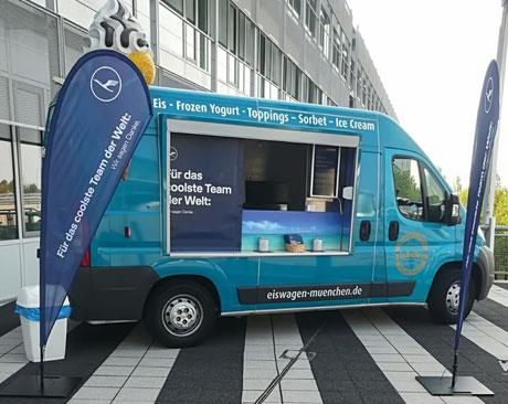Eiswagen München; Eis Deluxe; Eiswagen-Marketing, Eiswagen Buchen, Eismobil, Eismobil Mieten, Promotion Aktion, Eiscreme