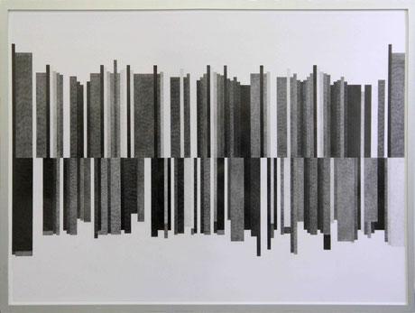 In der Dämmerung, 2017, Bleistift auf Papier, 88 x 135 cm