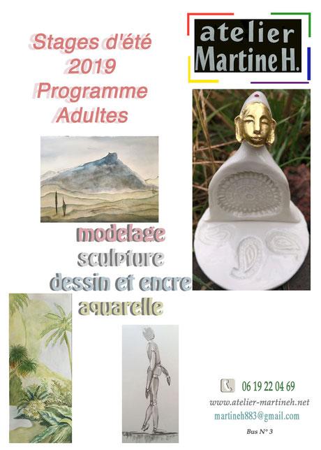 Atelier martine H Stages adultes et enfants été 2019