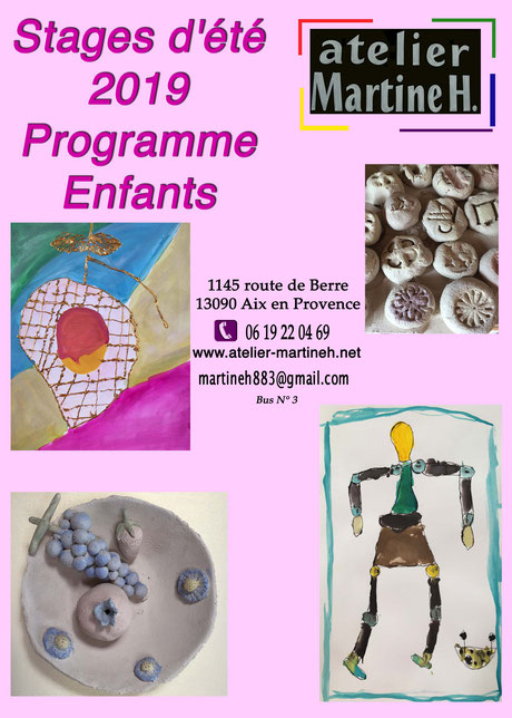 Atelier martine H Stages été 2019