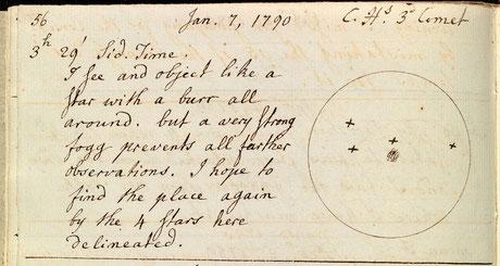 Notes prises par Caroline Herschel en 1790