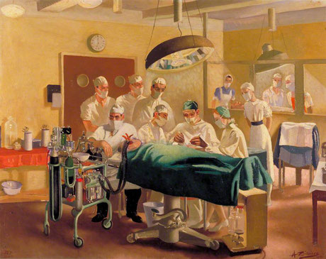 Archibald McIndoe oprérant au Queen Victoria Plastic and Jaw Injury Centre, 1944 © Imperial War Museum London