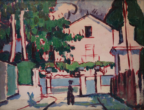 "Anne Estelle Rice (1877-1959) Pink House, 1913 Oil on board, 13 x 16 inches Titled, dated, and signed verso: ""'Pink House' 1913 / Anne Estelle Rice"""